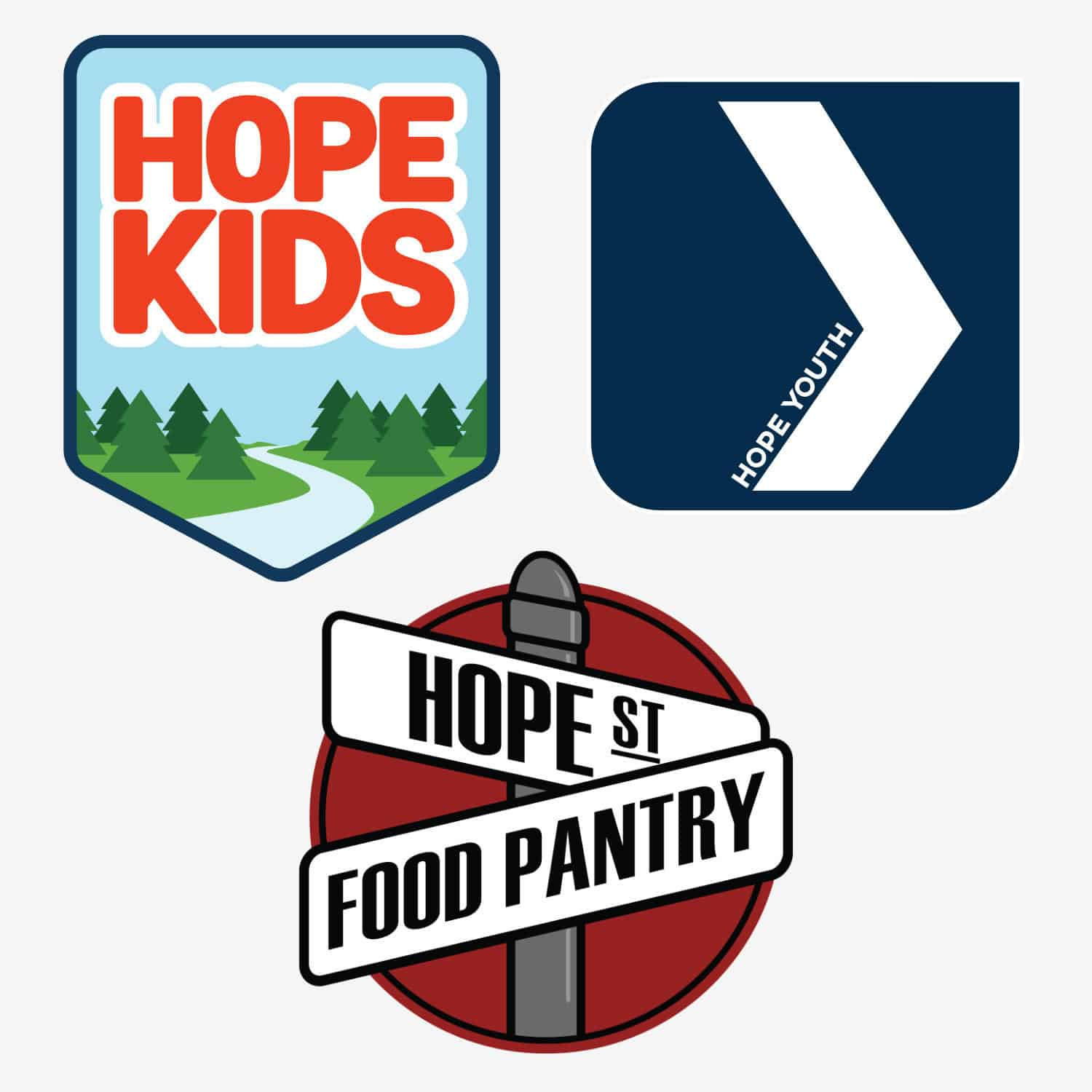 Collage of Hope Church ministry logos